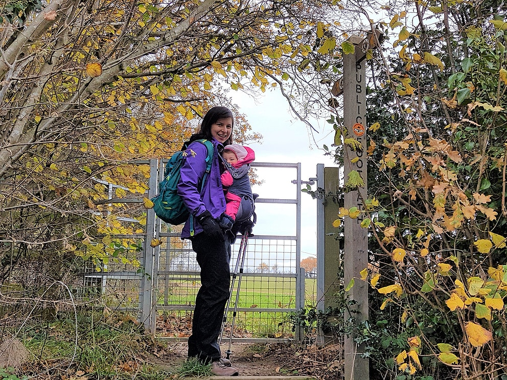 """Chloe walked 10km carrying her young daughter Bonnie, raising over £900. """"The peace soothes my tired baby and the birds lift my spirits""""."""